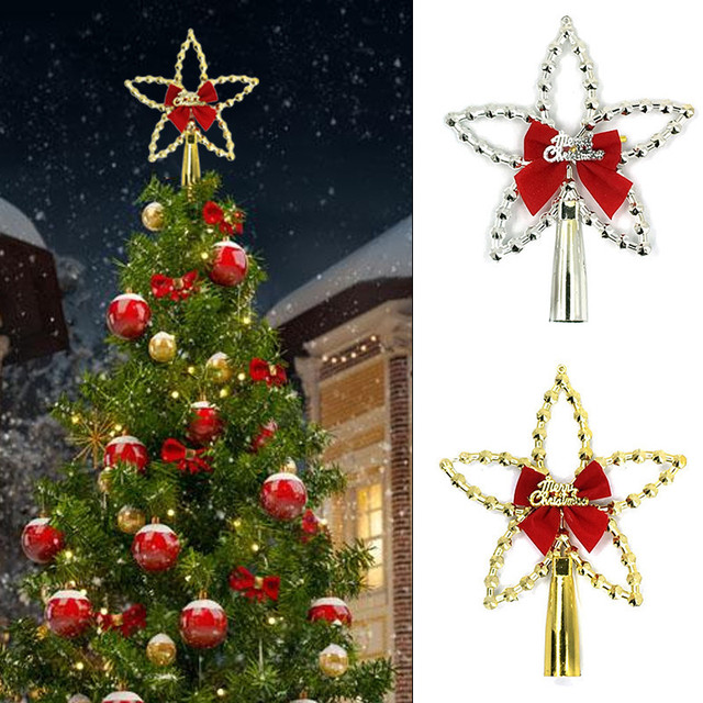 silvergold five pointed star christmas tree topper with bowknot for christmas tree xmas - Christmas Toppers