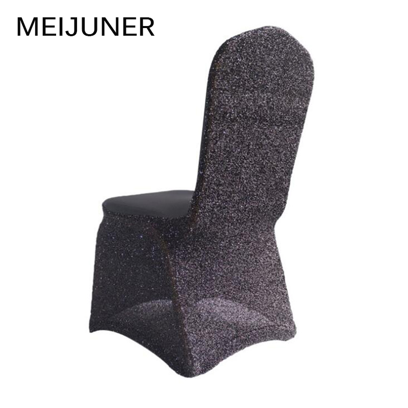 black glitter chair covers burlap sashes diy detail feedback questions about meijuner silver lycra spandex cover elastic stretch sequin for hotel banquet wedding