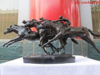 MARBLE ART Statue European Champion 3 Horse Racing Cavalier champion Garden Decoration 100% real Brass BRASS