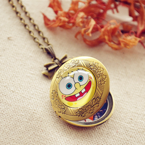 Spongebob patrick couple necklace with box can put photos spongebob patrick couple necklace with box can put photos customize girlfriend birthday gift ideas for children negle Images