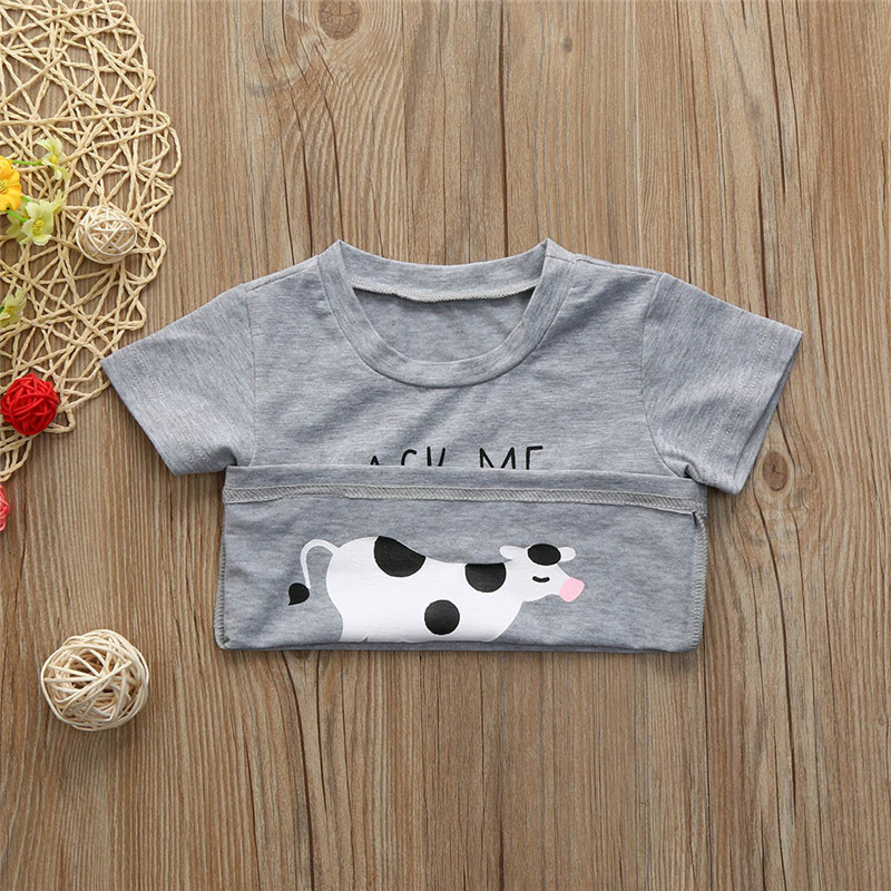 2018 Baby Children Boys Tops Toddler Kids Clothes Short Sleeve Letter Printing Tops T-Shirt Blouse nimal Inside Printing Cloth