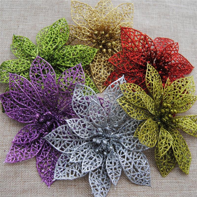 10 stk Glitter Hollow Flower Decoration Blomster til juletræer til - Varer til ferie og fester - Foto 2