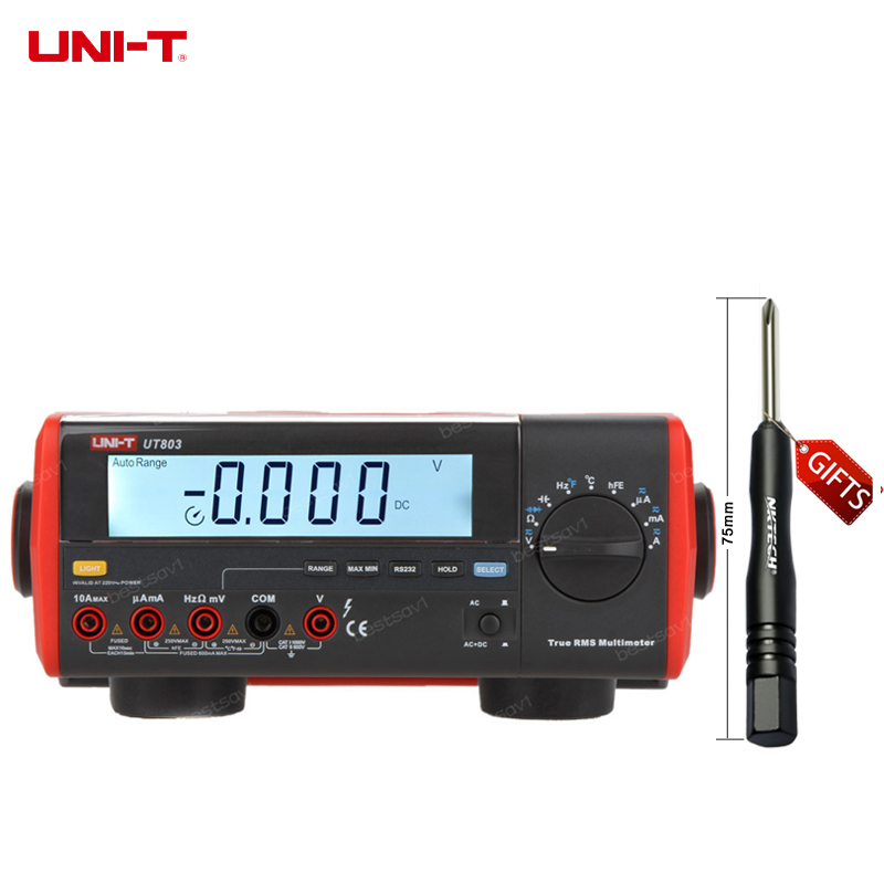 UNI-T UT803 True RMS Auto Range Bench Type Digital Multimeter DMM HZ Temperature Tester Capacitor w/hFE Test & USB hot sale ut802 uni t bench type digital multimeter automotive multimeter