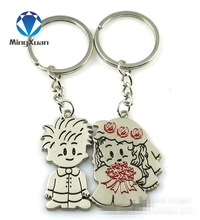MINGXUAN 1Pair Couple Keychain New Boy/Girl Key Ring Silver Plated Lovers Love Key Chain Souvenirs Valentine's Day gift C432