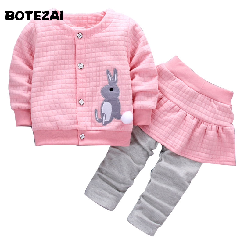 Baby Girls Sets 2pcs Cute Rabbit Cartoon 2017 Spring Autumn Clothes Suit Coat+Skirt Pants 1-4Y Girls Kids Children Clothing Set malayu baby kids clothing sets baby boys girls cartoon elephant cotton set autumn children clothes child t shirt pants suit