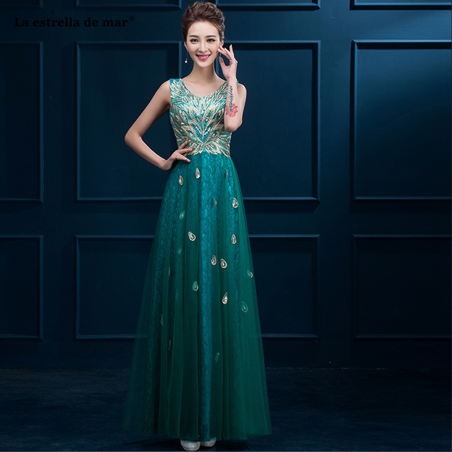 Vestido Madrinha 2019 New Sexy V-neck Golden Lace Applique Deep Teal Bridesmaid Dress Long Cheap Gaun Pesta Dewasa Wedding Party