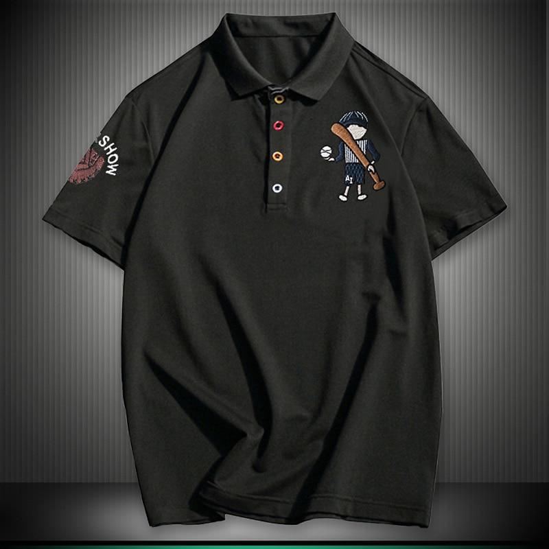 2019 Plus Size 8XL NEW England style Men Polo Shirt Summer Short Sleeve Polos Shirt Mens Camisa Polo Baseball Embroidery POLOS