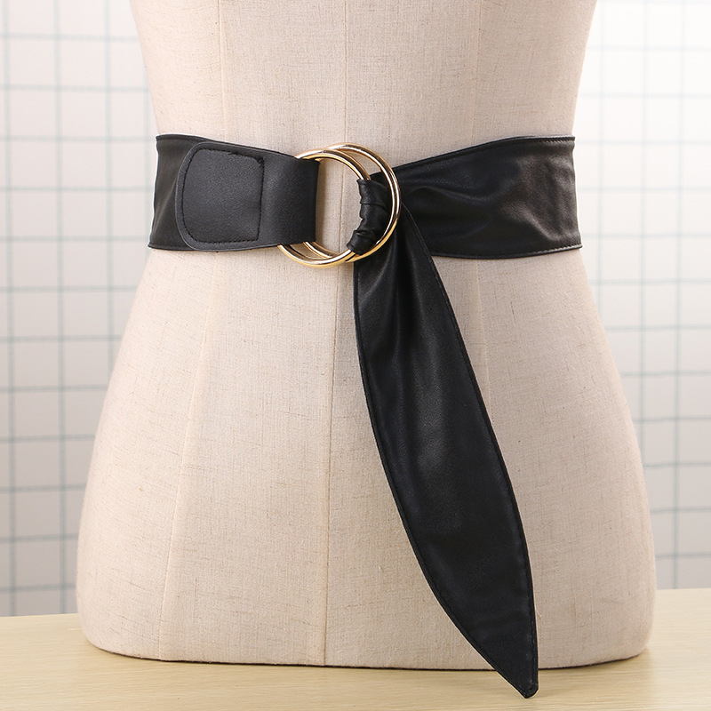Newest design   belt   soft leather wide   belts   for women waist   belt   strap gold double big circle buckle lady dress Closure Coat gift