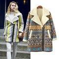 Vintage Woman Ladies Suede Biker Jackets Winter Warm Long Designer Shearling Coats Leather Padded Overcoat Parkas SizeS-L
