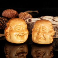 Wood carved face  four facial expressions home decoration desktop ornaments.