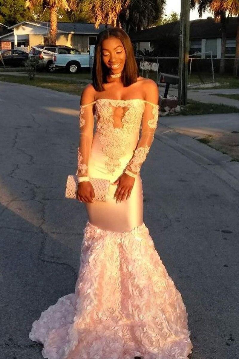 Сексуальное платье Русалка для выпускного вечера с длинными рукавами с открытыми плечами и кружевной аппликацией 3D Цветы африканские вече...