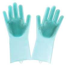 2pcs/one Pair Magic Silicone Rubber Dish Washing Gloves Eco-Friendly Scrubber Magic Silicone Gloves bonus gloves the one