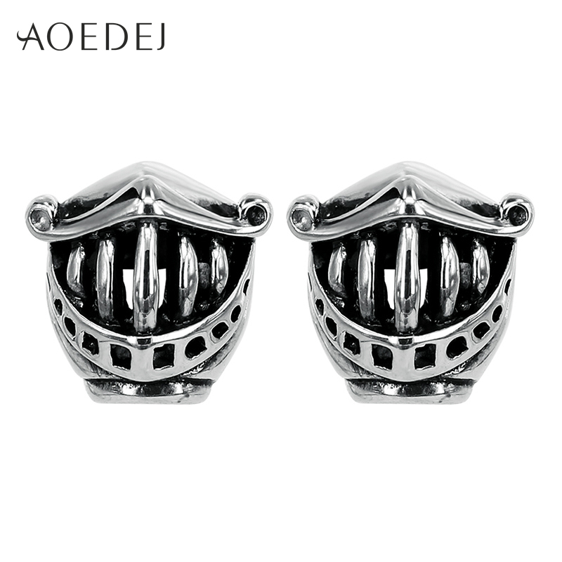 AOEDEJ Bucktooth Tusk Armor Black Men Earrings Stainless Steel Skull Hip Hop Earrings For Men 12mm Punk Ear Studs Hollow Out
