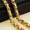 "7""~40"" 8mm Fashion Jewelry Trendy Byzantine Chain Men's 316L Stainless Steel Necklace Chain Mens Gold Chains Necklaces"
