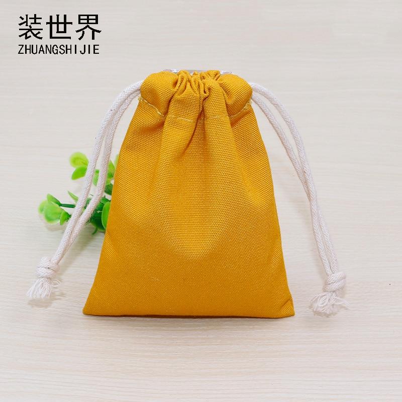 5 Pcs/lot 9.5cm*15cm 10oz Cotton Canvas Pouch Wholesale Custom Logo Printed Drawstring Bags Packaging Bags