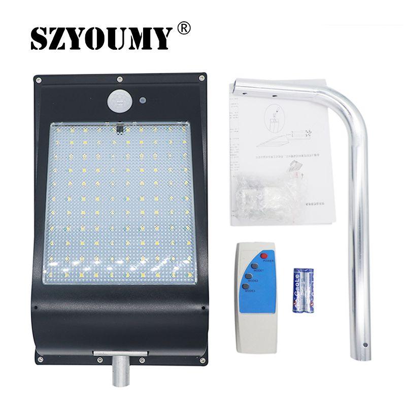 SZYOUMY LED lumière solaire 110 LED 1300LM PIR capteur de mouvement alimenté lampadaires extérieur étanche éclairage mural 11000 MAH