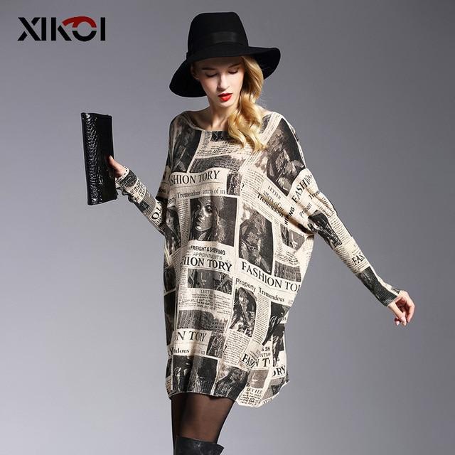 XIKOI 2017 Oversized Sweater Fashion Batwing Sleeve Women's Jumper Sweaters Print Slash Neck Pullovers Knitted Sweater Women
