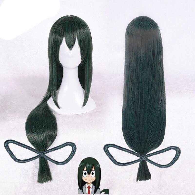 Boku No Hero Academia Asui Tsuyu Wig My Hero Academia Cosplay Costume Wigs 80cm Green Long Hair + Wig Cap