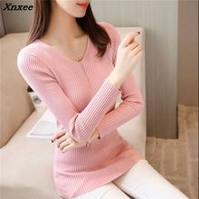 Winter 22 NEW WOMENS stretch slim knit sweater V collar shirt F1927 head Xnxee цены