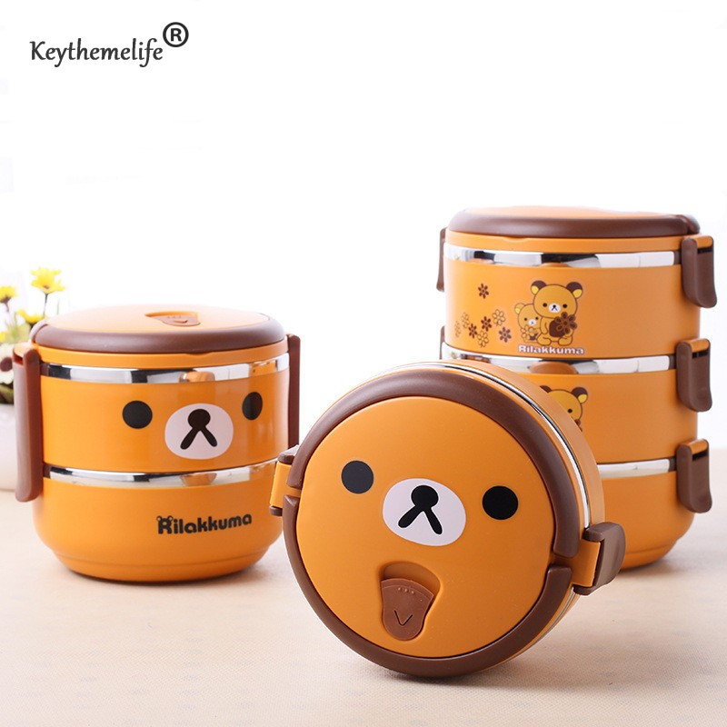 Keythemelife Multilayer Cute bear Food Thermo Lunch boxs Kids Thermal Bento Lunchbox Platic PP+304 Stainless Steel 2D/D(China (Mainland))