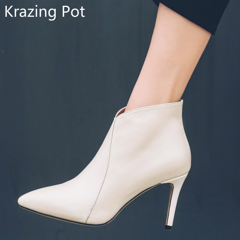 2018 Superstar Zipper Pointed Toe High Heels Stiletto Runway Winter Boots Nightclub Handmade Solid Party Women Ankle Boots L23 2018 new arrival fashion winter shoe genuine leather pointed toe high heel handmade party runway zipper women mid calf boots l11