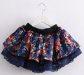 Baby girls skirts spring 2016 version of the pastoral style floral skirt bow lace tutu skirts children's clothing Princess skirt