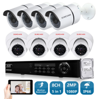 SUNCHAN 8ch 1080P AHD H DVR 8PCS HD 2 0MP 1080P 3000TVL In Outdoor Security Camera