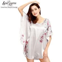 SpaRogerss Women Sleepshirt Faux Silk Bath Robe 2017 Sleep Lounge Ladies Nightwear Plus Size Sleepwear Nightie Sleep Top YT001