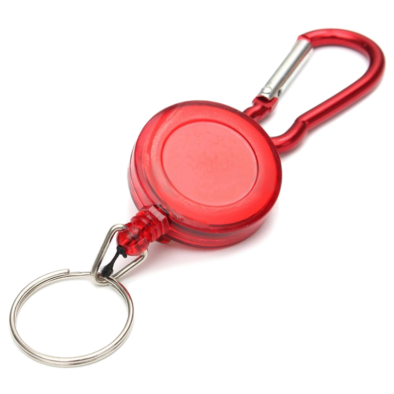 2 PCS BADGE REEL - RETRACTABLE RECOIL YOYO SKI PASS ID CARD HOLDER KEY CHAIN Color:Red Amount:2Pcs