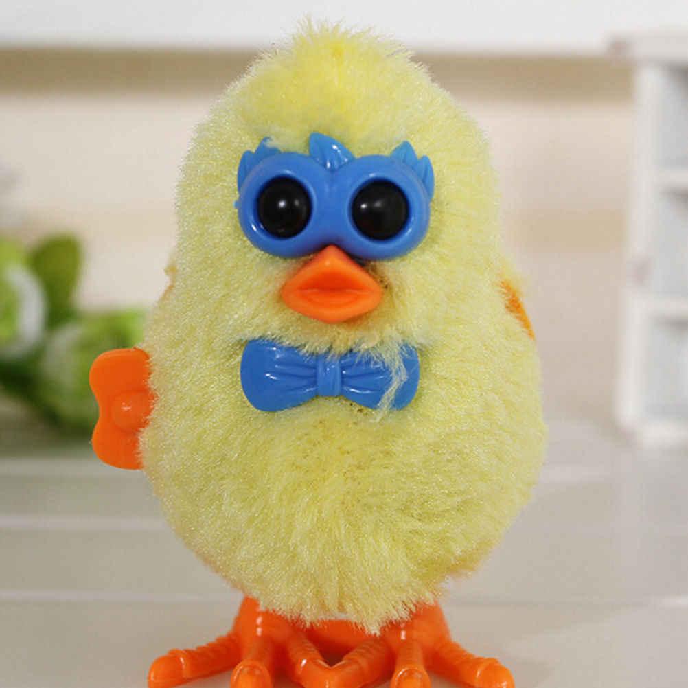 1 قطعة لون عشوائي لطيف الدجاج الفرخ يختتم اللعب للأطفال ألعاب تعليمية سلسلة من البلاستيك سوف تعمل على عقارب الساعة