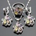 Multicolor Pedras Zircônia Cúbica Conjuntos de Jóias Para As Mulheres Colar de Pingente de Cor Prata Brincos Anéis Caixa de Presente Livre