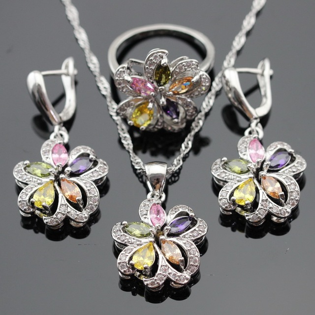 Multicolor Stones Cubic Zirconia Silver Color Jewelry Sets For Women Necklace Pendant Drop Earrings Rings Free Gift Box