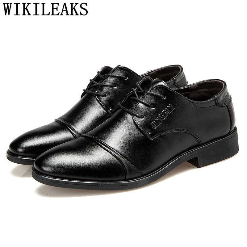 อย่างเป็นทางการผู้ชายรองเท้า oxford อิตาเลี่ยน mens รองเท้าหนัง coiffeur อย่างเป็นทางการรองเท้าผู้ชายคลาสสิกขนาดใหญ่สีน้ำตาลชุด buty meskie