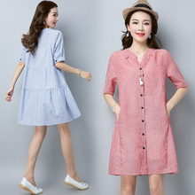 #0113 Summer dress lades Pink Blue Half Sleeve V-Neck Casual Loose Striped Dress woman with pockets pleated Mini Dress Femme все цены