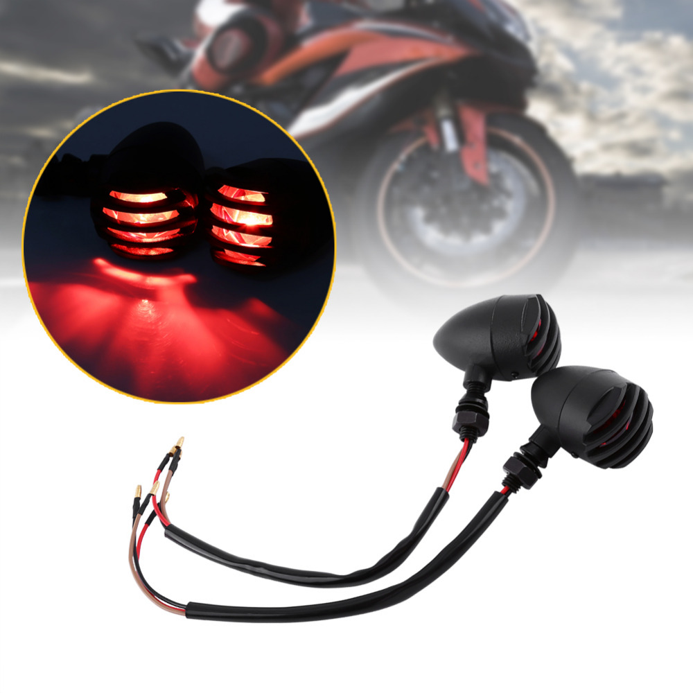 1 Pair Black Moto Grill Bullet Turn Signal Indicator Light Lamp For Harley Davidson Cafe Racer Motorcycle Lights Motocicleta