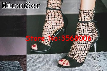 Gladiator Silver Black Stiletto Sandals Shoes Evening Party Dress Lady High Heels Rhinestone Mesh Hollow Out