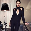 Free Shipping 2016 New Chic All Black Sexy Key Hole Long Sleeves Women Bodysuit Bandage Jumpsuit