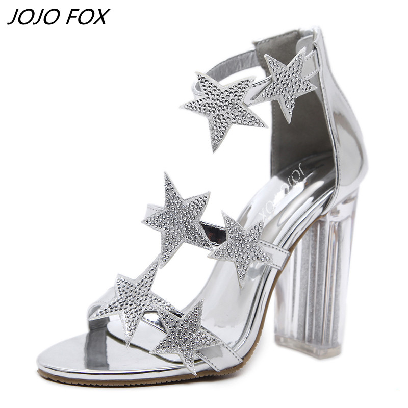 Bright Patent Leather Thick Heel Sandals Women Block Crystal Heel - Moteriški batai