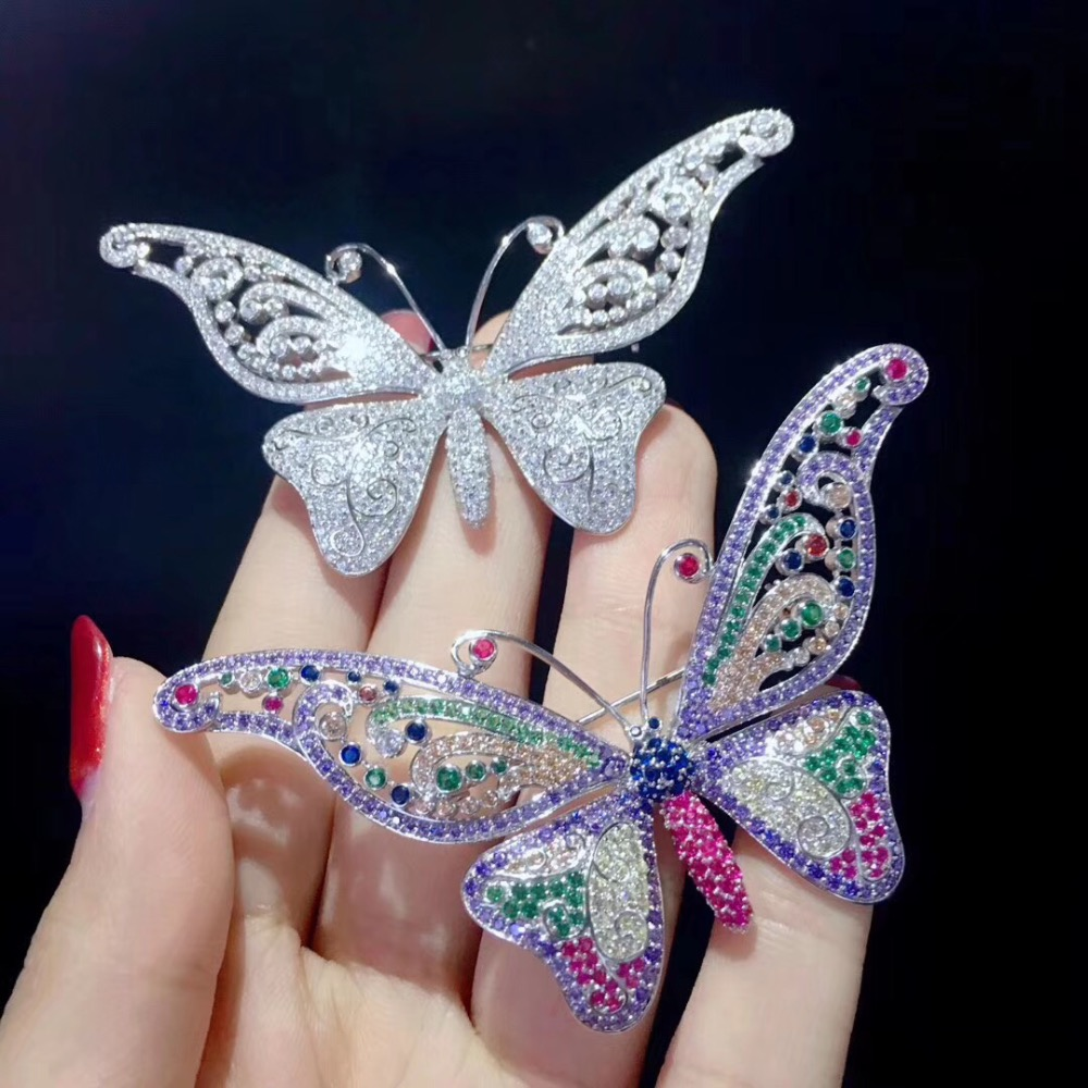 white multi color 925 sterling silver with cubic zircon butterfly brooch pins insect fashion women jewelry free shipping green color 925 sterling silver with cubic zircon bird brooch pins fashion women jewelry free shipping