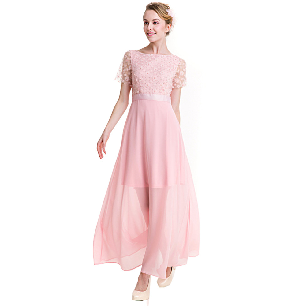 e06a40f988b1 Women Summer Elegant Lace Crochet Flare Swing Party Dress Bridesmaid Girls  Cute Flower Pearl Chiffon Long Gowns Pink