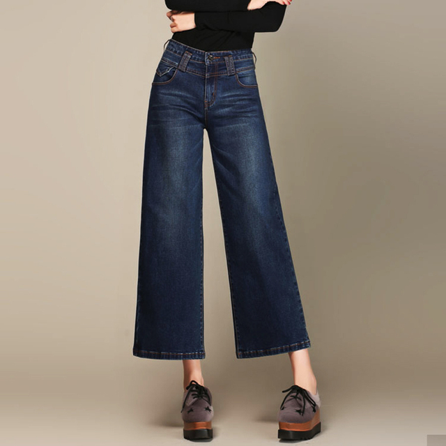 7e713aac34f81 Dames Évasée Jeans Tailles Plus Femmes Denim Pantalon Large Jean Cloche Bas  Push Up Femme Floral