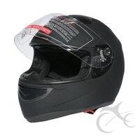 Dual Visor Matte Black Street Sport Bike Full Face Motorcycle Helmet Size M L XL