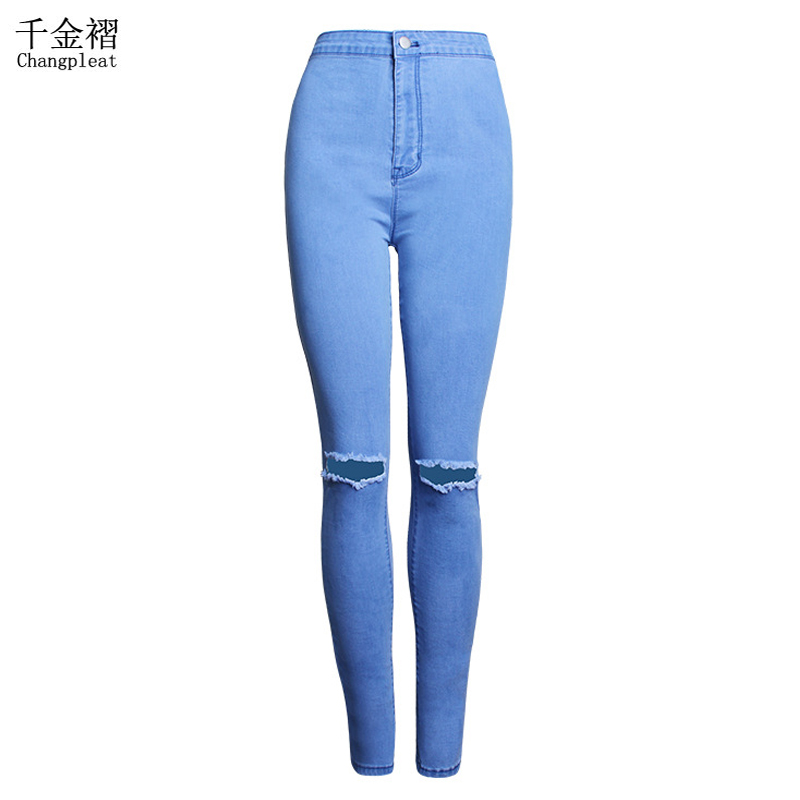 Ripped Jeans For Women With High Waist Fashion Slim Stretch Blue Pencil Jeans femme Hole Skinny Denim Trousers Plus Size S-XXL woman spring fashion diamond skinny jeans femme stretch women s pencil pants denim trousers for women slim light blue jeans l531