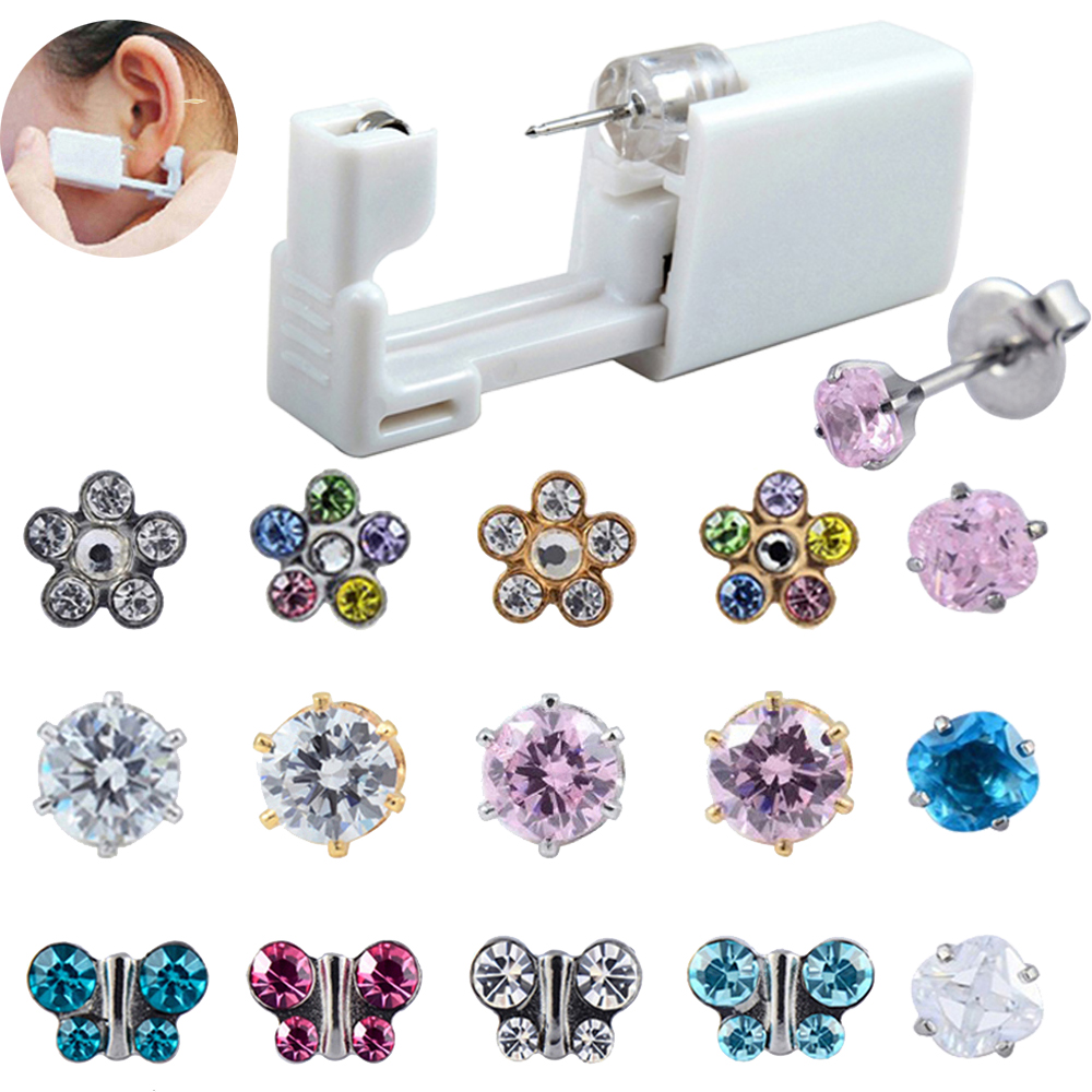 1Unit Safety Sterlised Disposable NO PAIN Piercing Device Machine Tools Easy Ear Piercer Sterile Bezel Crystal Stud Body Jewelry