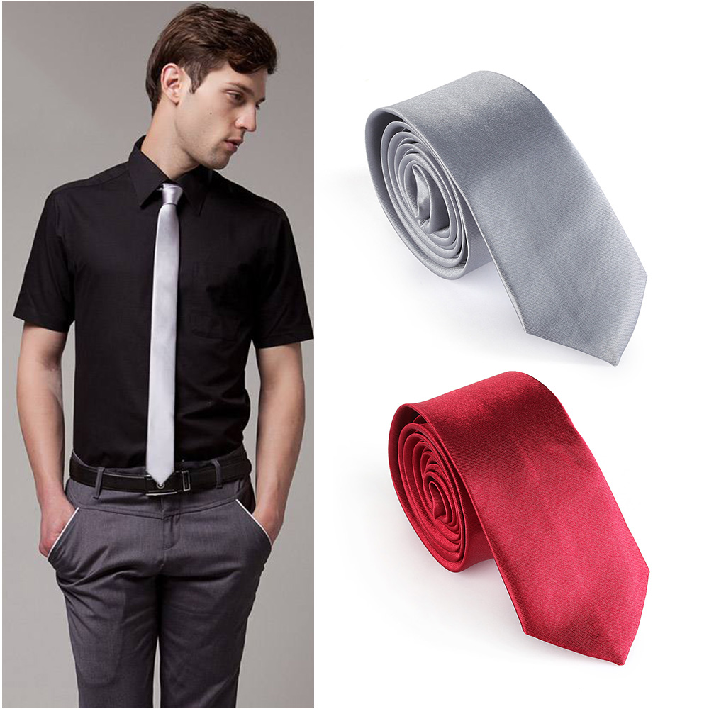 5 Colors Very Cheap Hot Sale Casual Slim Plain Mens Solid Skinny Neck Party Wedding Tie Silk Necktie 1 PC
