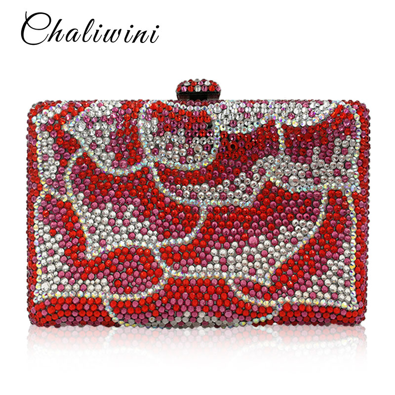 Luxury Red Crystal Diamond Flower Women Evening Clutch Bag Bridal Wedding Sparkly Rhinestone Cocktail banquet Bag Tyvek Wallet luxury red crystal diamond flower women evening clutch bag bridal wedding sparkly rhinestone cocktail banquet bag tyvek wallet