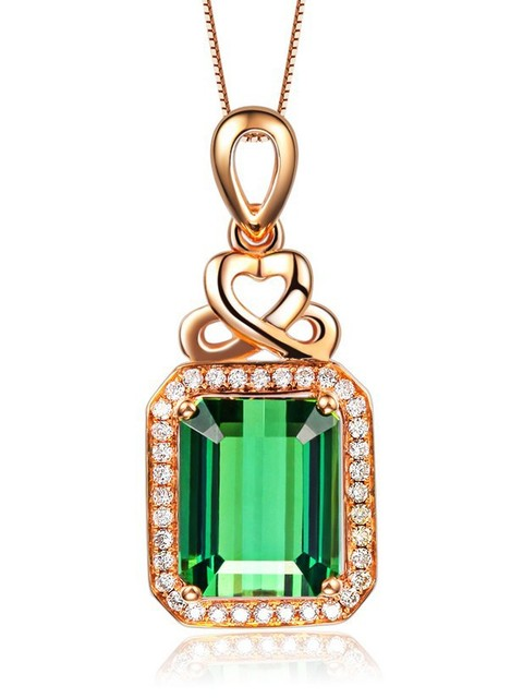 Boutique gold necklace Natural semi-precious stones Green Tourmaline Pendant green New Vintage low-key luxury girlfriend gift