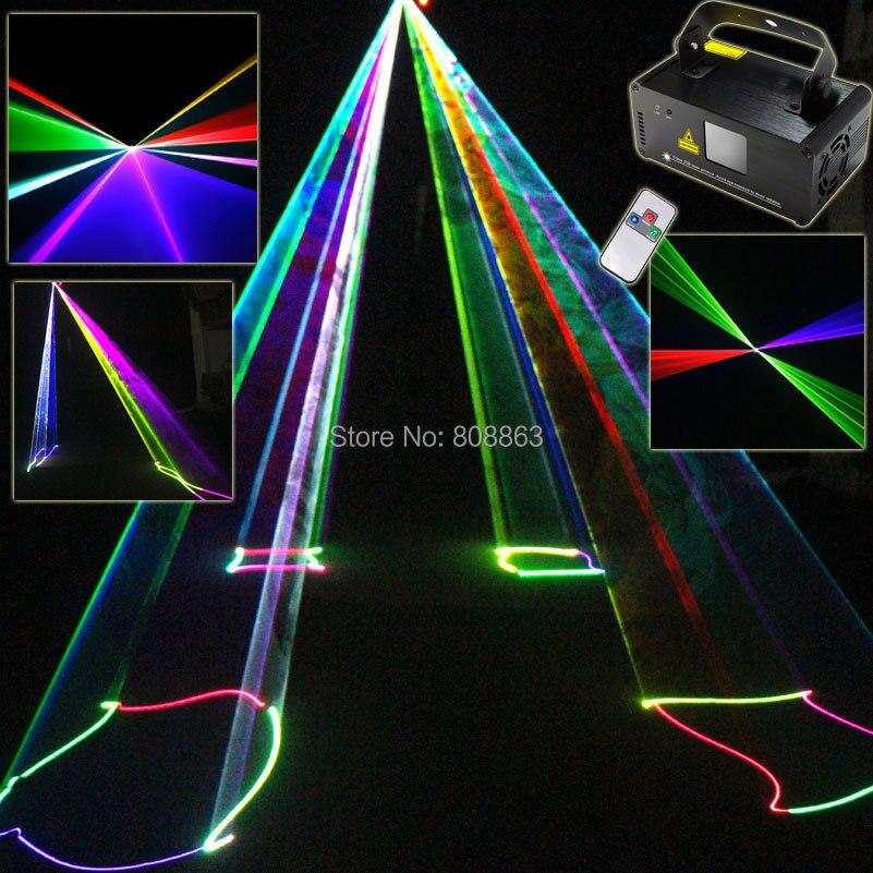 ESHINY RGB Laser Lines Beam Scans 400 Remote DMX DJ Dance Bar Coffee Xmas Home Party Disco Effect Lighting Light System Show D77