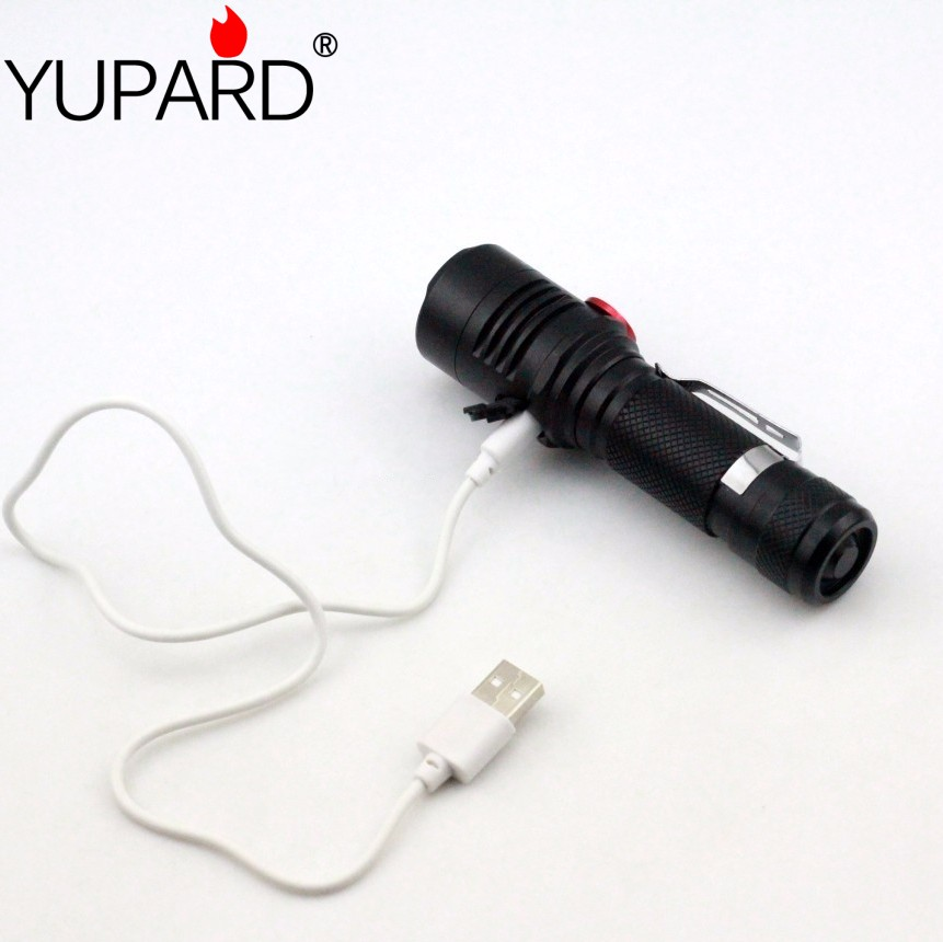 yupard Traploos dimmende zaklamp XM-L2 T6 LED zaklamp usb oplaadlamp - Draagbare verlichting