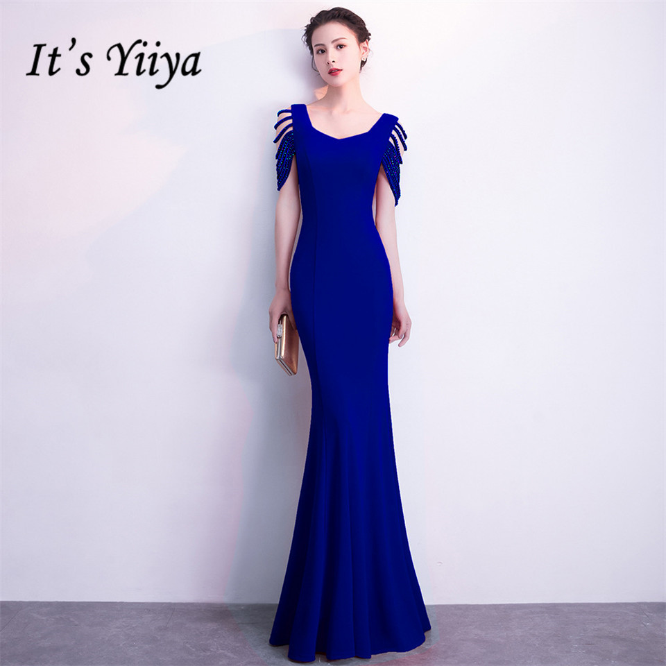 It's Yiiya Party Gown Backless Square collar Sleeveless   Evening     dresses   Beading Zipper back Floor-length trumpet Prom   dress   C153